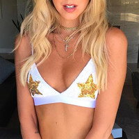 Sequin Star Patched Bikini Set