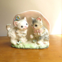 Vintage Kitten Planter, Ceramic Kitty Planter, Pastel Floral Kitties Kittens, Cat Figurine