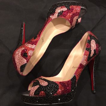 CHRISTIAN LOUBOUTIN 40 Crystal Strass Pink Black Ombre Swirl Very Prive Heels