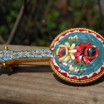 Italian Micro Mosaic Jewelry Rose Brooch Flower Pin Banjo Art Made in Italy Gold Tone Metal Glass 1960s Floral Musical Instrument Multicolor