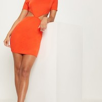 Bright Orange Short Sleeve V Cut Out Bodycon Dress