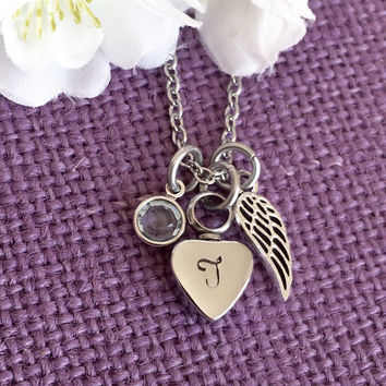 Urn cremation Jewelry - Memorial Necklace - Remembrance Necklace - Sympathy Gift - Memorial Necklace - Angel Wing