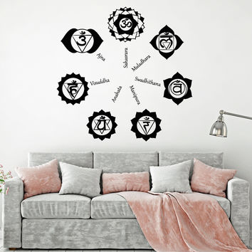 Vinyl Wall Decal Chakras Hinduism Buddhism Yoga Studio Stickers Murals Unique Gift (ig4917)