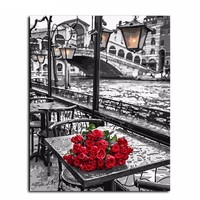 """DIY Painting by Numbers Canvas Painting Set - """"Red Roses"""""""