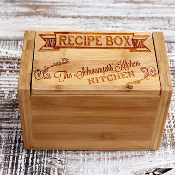 Personalized Recipe Box with Ribbon Header
