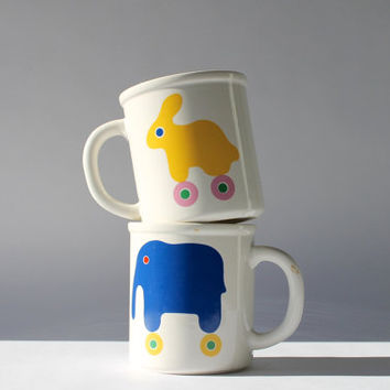 Pair of Vintage Marimekko Oy Mugs, Bunny & Elephant on Wheels