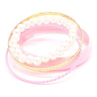 Pink Gold Two Tone Textured Faux Pearl Multiple Bangle Bracelet Set