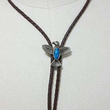 Vintage Silver Toned Eagle with Blue Stone Setting Bolo Tie Accessory Necklace