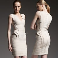 Women's Fashion Sexy Flocking Ruffle Sleeveless Ball Gown Bandages Dress [4919744644]
