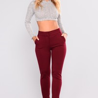 Too Easy Pants - Burgundy