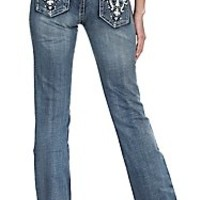 Wired Heart Women's Medium Wash White Leather Scrolls with Bling Open Pocket Boot Cut Jean