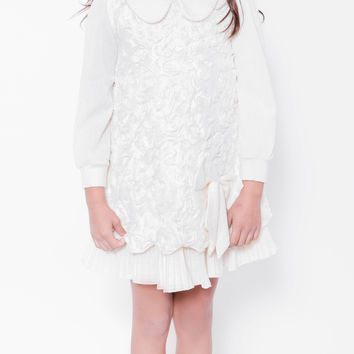 Koma-Va Girl's Long Sleeve Peter Pan Collar Dress
