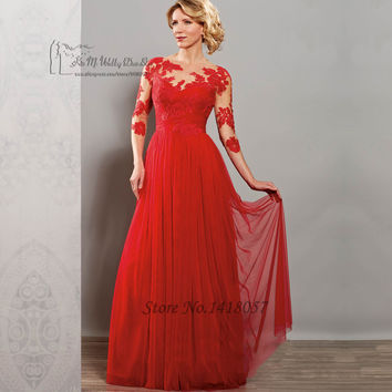 Vestido de Madrinha 2016 Red Purple Long Lace Mother of the Bride Dresses Gowns Tulle Plus Size Godmother Groom Dress