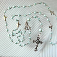 Catholic ROSARY Blue Glass Pearls Silver Plated Crosses Necklace Handmade Unbreakable