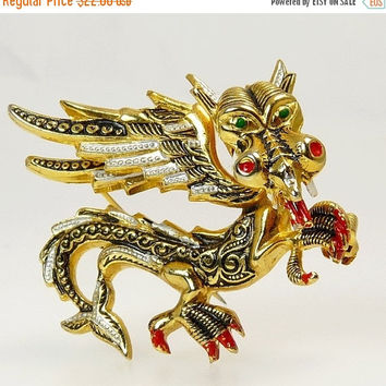 Vintage Spanish Damascene Dragon Brooch