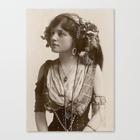 BEAUTIFUL GYPSY GIRL, Circa 1900 Canvas Print by vintagereprints