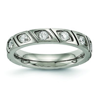 Titanium Polished Grooved CZ Ring TB483