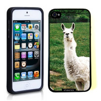 Iphone 5 5S Case Thinshell Case Protective Iphone 5 5S Case Shawnex White Llama On Grass
