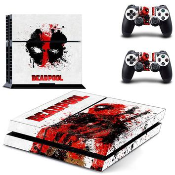 Marvel Deadpool PS4 Skin Sticker Decal Vinyl For Sony PS4 PlayStation 4 Console and 2 Controller Stickers