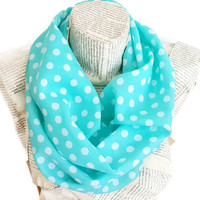 Neck warmer, Scarf, Lightweight Soft Mint Polka Dots, Circle Scarf, Women Accessories