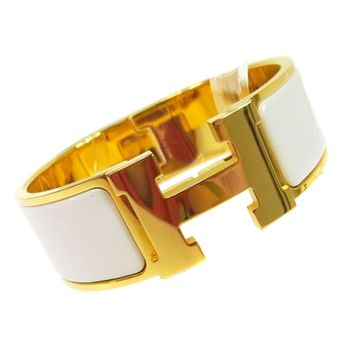 Authentic HERMES Vintage H Logos Clic Clac Bangle Gold White Accessories TG00774