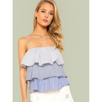 Striped Print Layered Ruffle Cami Top