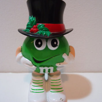 Official M&M's Green M Collectible 90's Christmas Toy Candy Holder, Stocking Stuffer, Gifts Under 5, Cake Topper Decoration