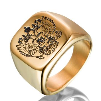 Engraved Double-Headed Classic Eagle Masonic Ring [Multiple Colors]