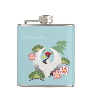 Japanese Lucky Symbols Elegant Chic Light Blue Flask