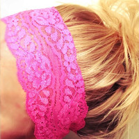 Soft Wide Stretch Lace Headbands Hair Neon Pink Orange Green Yellow Blue Yoga Fitness Workout Headbands Non Marking No Headaches FREE SHIP