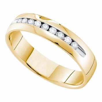 14kt Yellow Gold Mens Round Channel-set Diamond Single Row Wedding Band Ring 1/4 Cttw