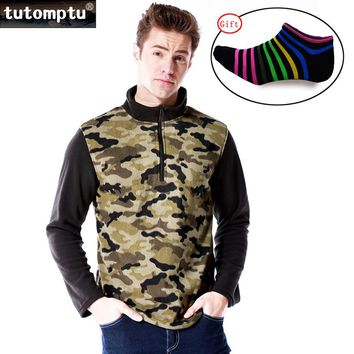Tutomptu New Outdoor Clothing Fleece Jacket Men Thermal Antistatic Winter Jacket Polyester Polartec Camping Camouflage M-5XL