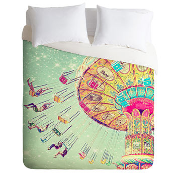 Shannon Clark Swinging Through Stars Duvet Cover