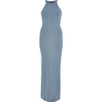 River Island Womens Denim blue ribbed bodycon maxi dress