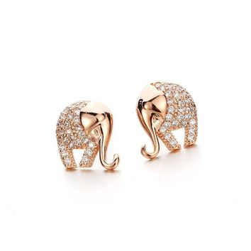 Precious Crystal Elephant Stud Earrings - Gold Plated Jewelry for Women Girls