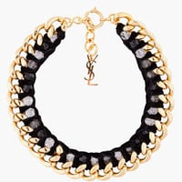 Yves Saint Laurent Black And Gold Velvette Chain Necklace for women | SSENSE