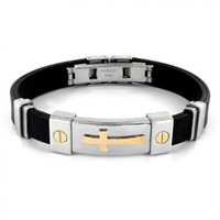 Stainless Steel and Black Rubber Bracelet With Gold IP Cross - 8""
