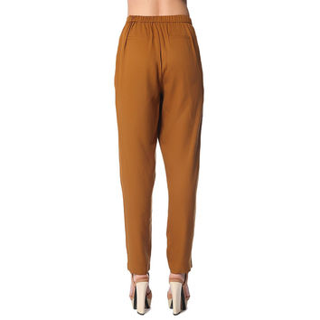 Peg pants with wrap front in mustard