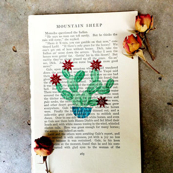 Vintage Book Pages, Cactus Print, Cactus Wall Art, Recycled Book Page, Stamped Wall Art, Vintage Book Wall Art, Cactus Art Print