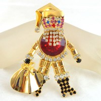 Vintage Lg Articulated Santa Claus Red Rivoli Belly Rhinestone Pin