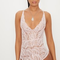 Baby Pink Sheer Lace Cross Back Bodysuit