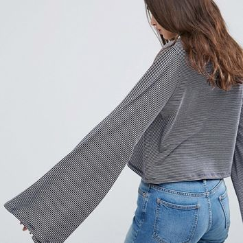 ASOS Top With Wide Sleeve In Stripe at asos.com