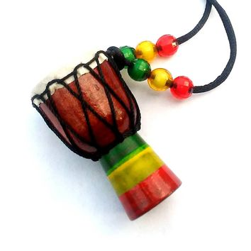 "African Wood Djembe Drum Necklace 16""...........choose a color"