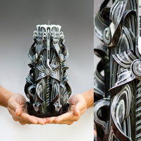 Carved candles - Black candle - Large candle