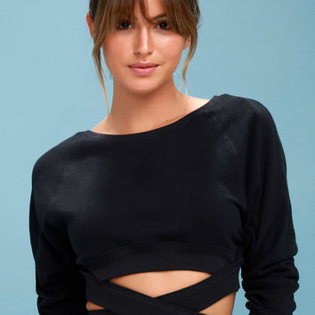 Superwoman Washed Black Tying Cropped Sweatshirt