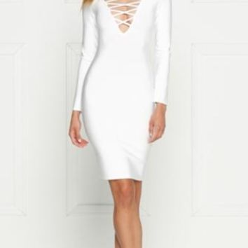 Cruel Intentions Long Sleeve Plunge V Neck Crisscross Bodycon Bandage Midi Dress - 2 Colors Available