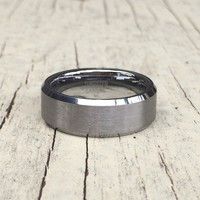 8MM REAL Tungsten Matte Finished, Beveled Wedding Band