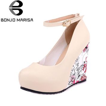 BONJOMARISA Women's Flower Print High Heel Wedge Party Wedding Shoes Woman Ankle Strap Front Platform Pumps Big Size 33-43