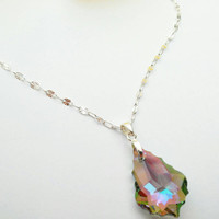 Paradise Shine Swarovski baroque Necklace, Crystal Pendant with romantic pendant on Sterling Silver chain
