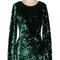 Run the Night Open Back Sequin Dress - Green